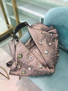 Image 4 - Bolso de gran capacidad para mujer, bolsa femenina con diamantes de imitación, bolsas de mensajero de hombro, estilo europeo y americano, 2020