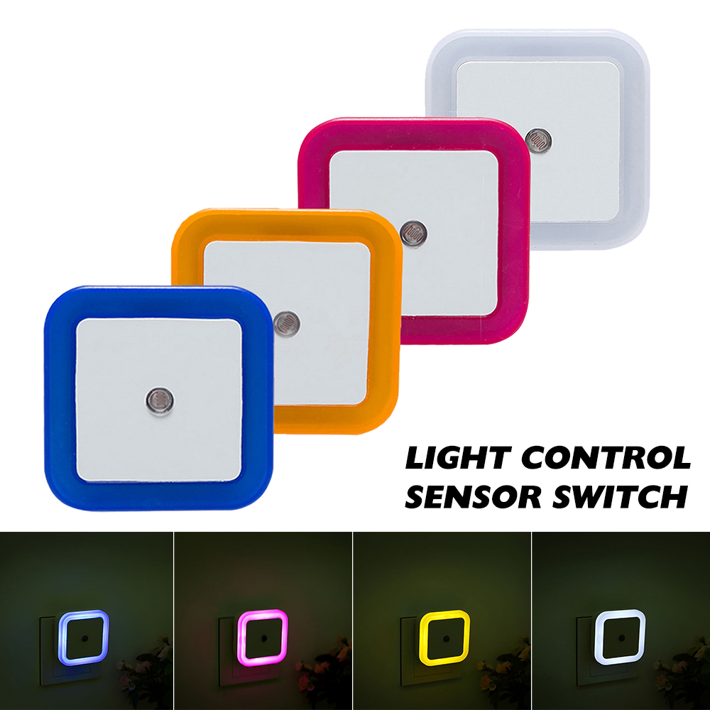 Light Sensor Control LED Night Light Lamp Toilet Light Control EU Plug Wall Lights Baby Bedroom Bedside Lamp Bulb Backlight