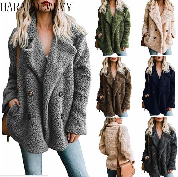 New Autumn 2020 Women Faux Fur Shaggy Lamb Coat Warm Casual Shaggy Black Teddy Bear Jacket Fluffy Plush Fake Fur Female Overcoat