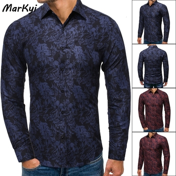 MarKyi 2020 good quality eu size long sleeve casual shirts for men brand new slim fit cotton floral dress shirts male markyi 2019 brand new floral print casual shirts for men good quality 3d compression long sleeve shirt men