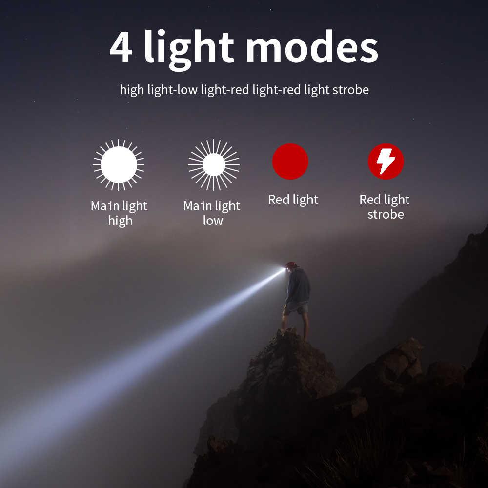 BORUiT 3W Powerfull Mini faro rojo luz LED faro 4-Mode impermeable cabeza antorcha Camping caza linterna AAA batería