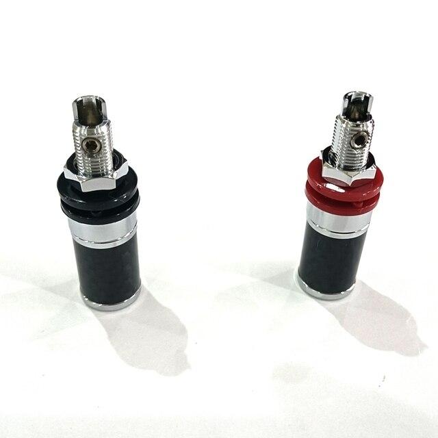 4PCS High Quality Carbon Fiber Rhodium Plated Binding Post Speaker Amplifier Terminal HI END Grade