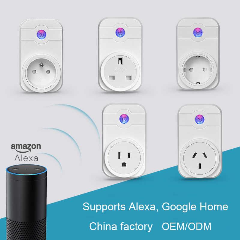 Умная вилка с Wi-Fi, электрическая розетка, адаптер для ЕС/США/Великобритании/Австралии с голосовым управлением и дистанционным управлением через Echo Alexa Google Home Assistant