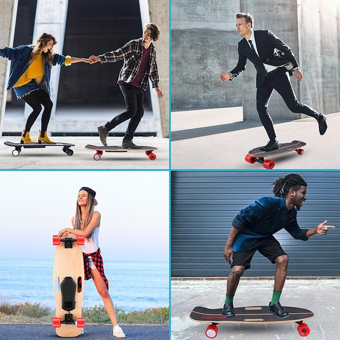 6-8Miles Remote Control Electric Skateboard 12 MPH Top Speed 350W 8 Miles Max Range 32.3x9.3x5.5inch 3