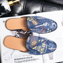 2020 Men Casual Shoes Luxury Men Slip on Sock Slippers Breathable Lightweight Walking Shoes Summer Fashion Half Drag Loafers 2020 summer cool rhinestones slippers for male gold black loafers half slippers anti slip men casual shoes flats slippers wolf