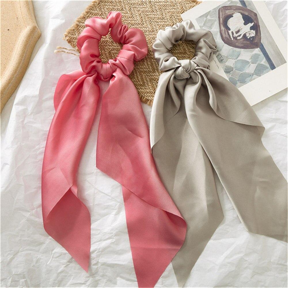 Летние Стильные многоцветные женские головные уборы тюрбан DIY лук стримеры резинки для волос конский хвост галстуки твердые головной убор