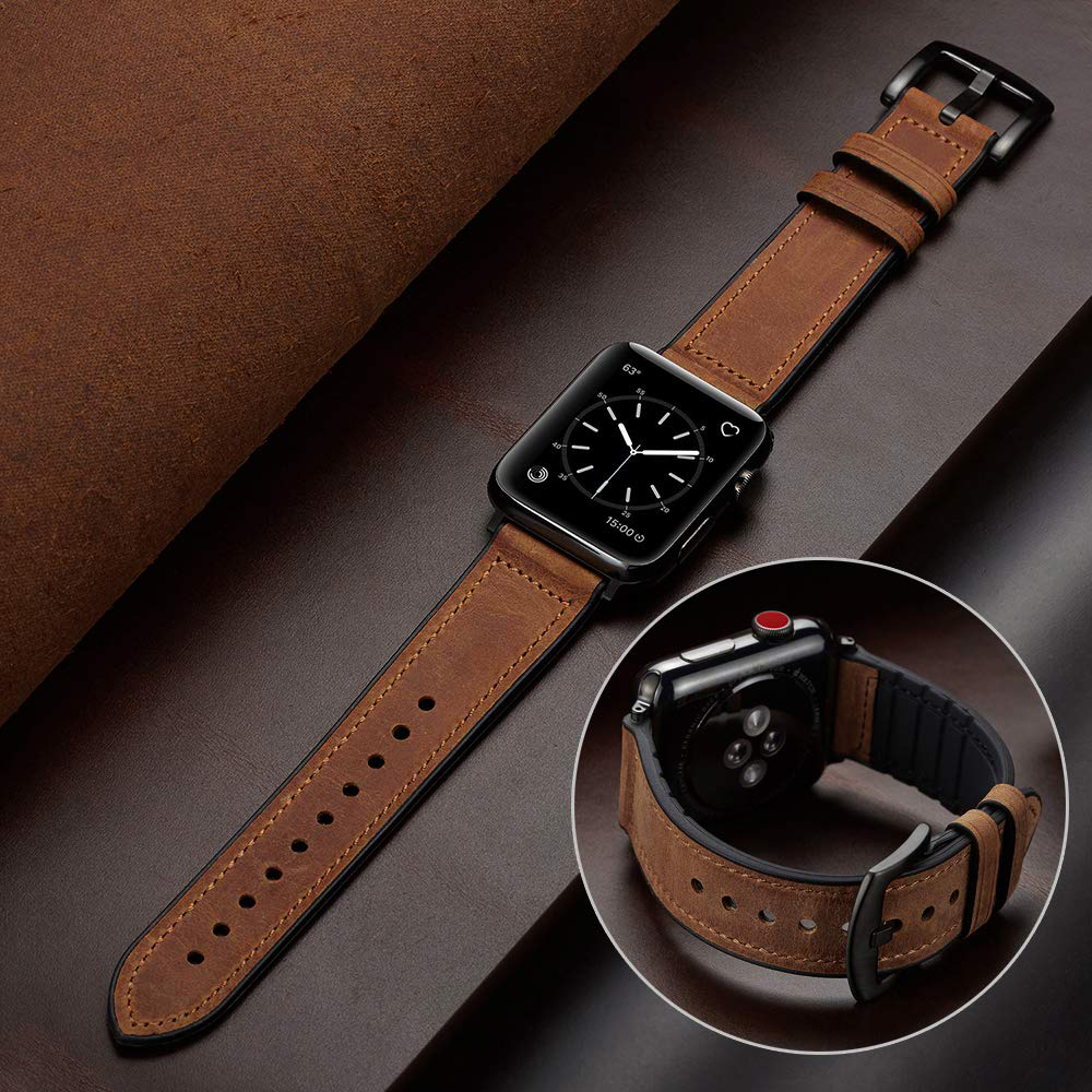 Silicone+Leather Strap For Apple Watch Band 44 Mm 40mm IWatch Band 42mm 38mm Leather Watchband Bracelet Apple Watch 5 4 3 44mm
