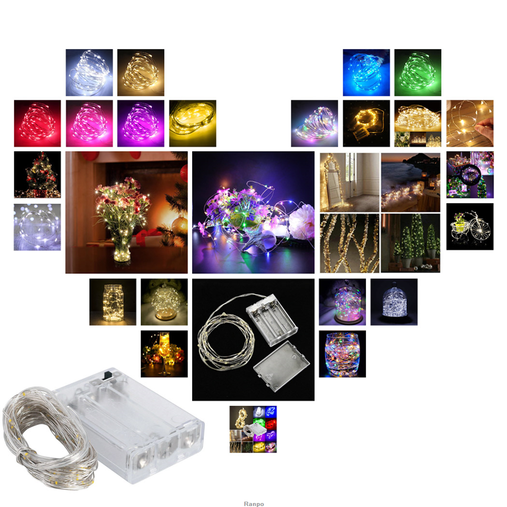 Luces De Navidad 1M/10 5M/50 10M 100Led Lampada Christmas Holiday Wedding Party Decoration LED Copper Wire String Lights Lamps