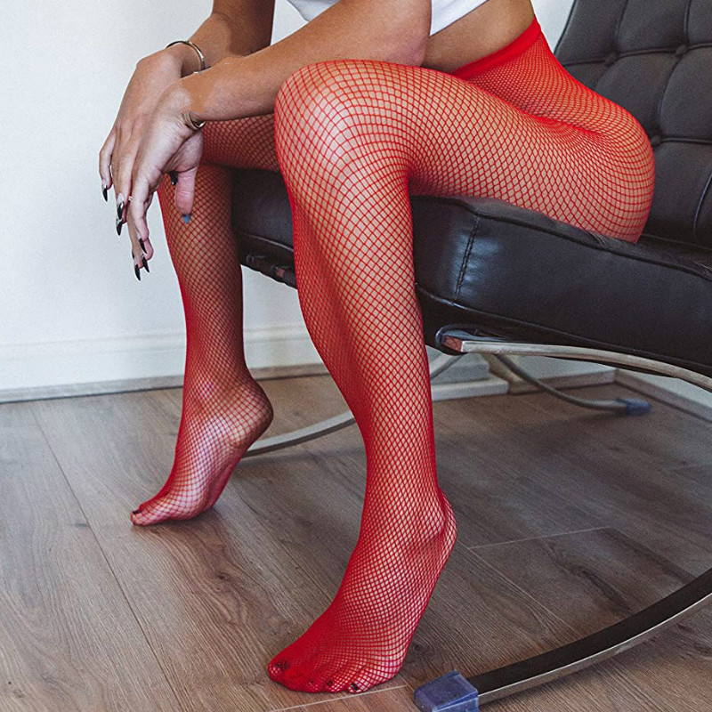 Small Mesh Tights Summer Sexy Women Slim Fishnet Pantyhose Party Club Black Red Stockings Plus Size Ladies Hosiery Dropshipping