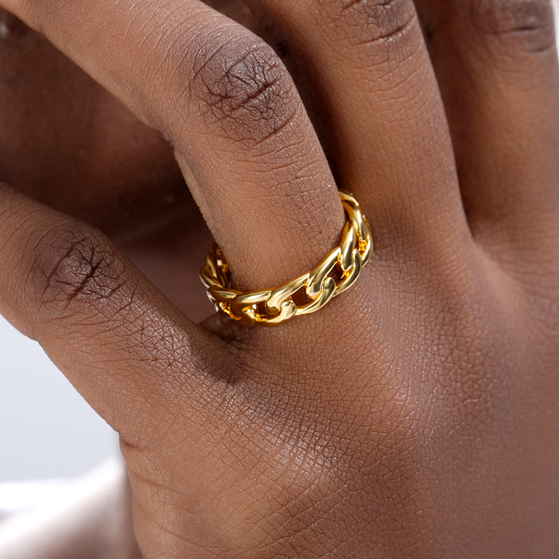 Vintage Cuban Link Chain Rings For Women Men Gold Color Stainless Steel Finger Ring Hip Hop Geometric Exaggeration Jewelry Gifts