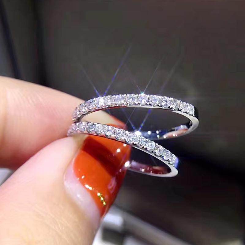 Hot Sale Genuine 18K white gold pave Diamond Ring Fine Jewelry Simple Round Thin Rings for Women Element Ring gift