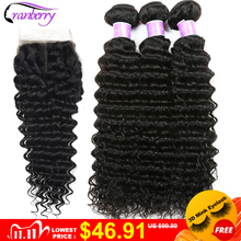 CRANBERRY Hair Deep Wave Human Hair Bundles With Closure 4 pcs/lot Brazilian Hair Weave Bundles With Closure Remy Hair Extension