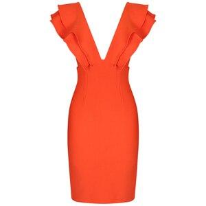 Image 4 - Ocstrade seksi bandaj elbise 2020 yeni kadın turuncu derin v boyun Ruffles zarif bandaj elbiseler Bodycon Backless kulübü parti elbise
