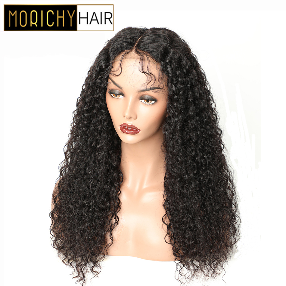 Morichy Hair Water Wave Curly Human Hair Closure Wig With Baby Hair Brazilian 4X4 Lace Closure Wig For Women Natural Black Color