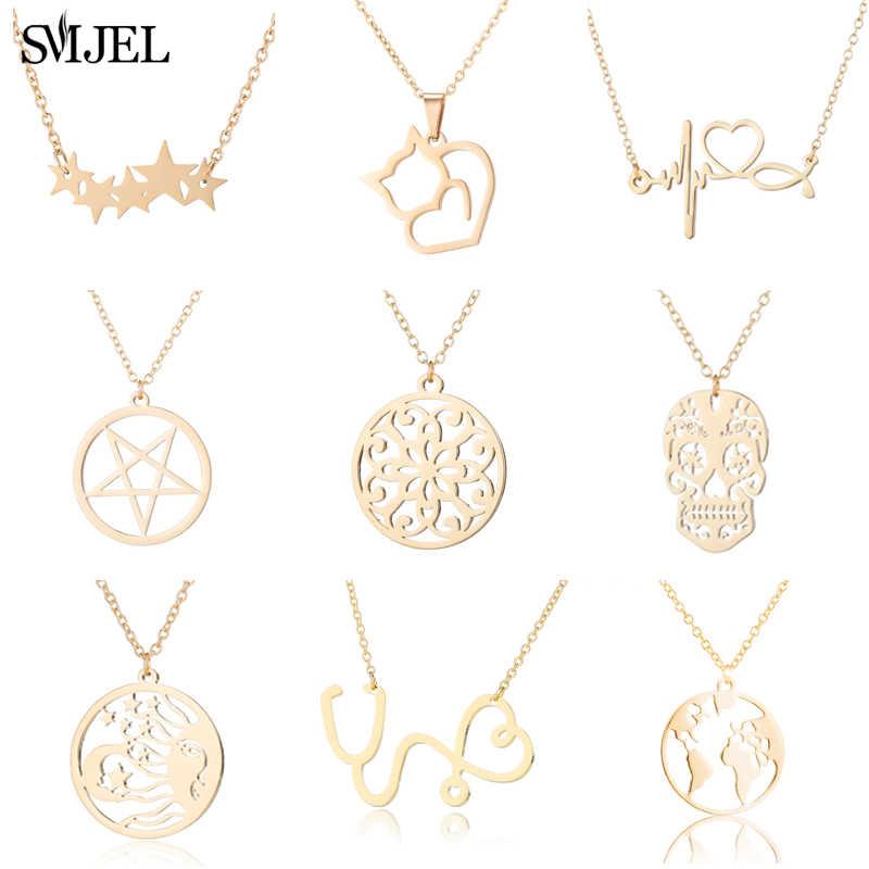 SMJEL acier inoxydable pentagramme étoile Nekclaces pour les femmes Colares géométrique fleur ronde breloque déclaration colliers tour de cou 2019