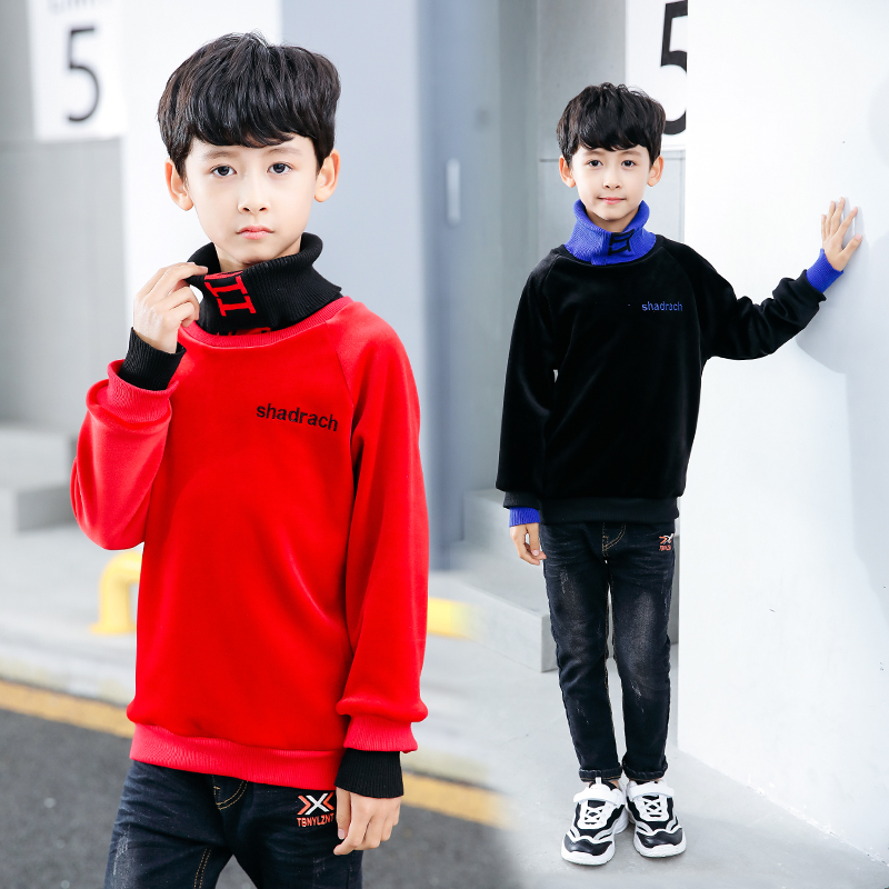 children boys Hoodie turtleneck Sweatshirt Clothes For velvet undershirt clothes girls Boys for 6 8 10 12 15 years