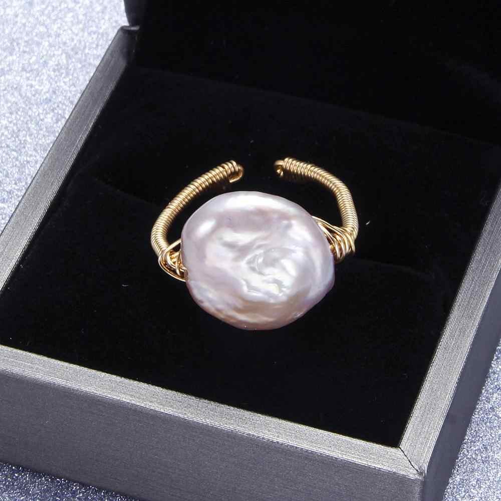 Anéis de pérola Barroca Pérola de Água Doce Para As Mulheres Anéis de Partido Grande Anel de Pérola Natural de água doce Pérola Jóias de Luxo Artesanal Presente da Mãe