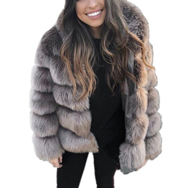 ZADORIN Winter Thick Warm Faux Fur Coat Women Plus Size Hooded Long Sleeve Faux Fur Jacket Luxury Winter Fur Coats bontjas