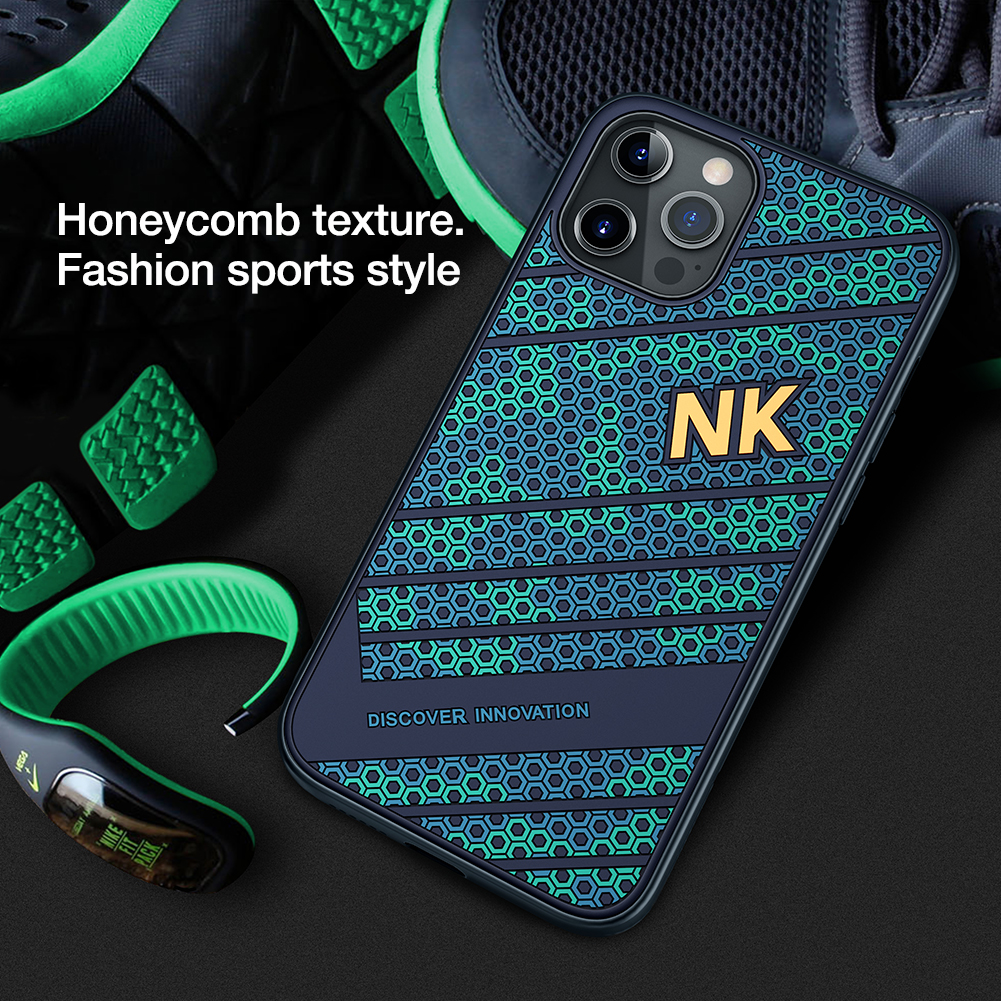 Smooth Shockproof Silicone PC Back Cover 3D Honeycomb Texture Case for iPhone 12 Pro Max 1