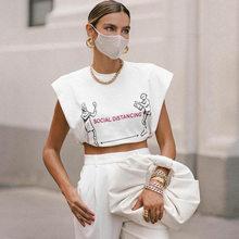 Maglietta per ragazze Pullover spallina gilet nuove donne stampate 2021 primavera e l'estate girocollo moda sport stile Casual Tee