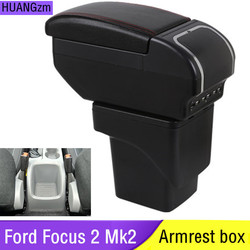 Duży podłokietnik dla Ford Focus 2 MK2 2005 2011 podłokietnik centrum pudełko do przechowywania na deskę rozdzielczą skórzane wsparcie 2006 2007 2008 2009 2010 Podłokietniki Samochody i motocykle -