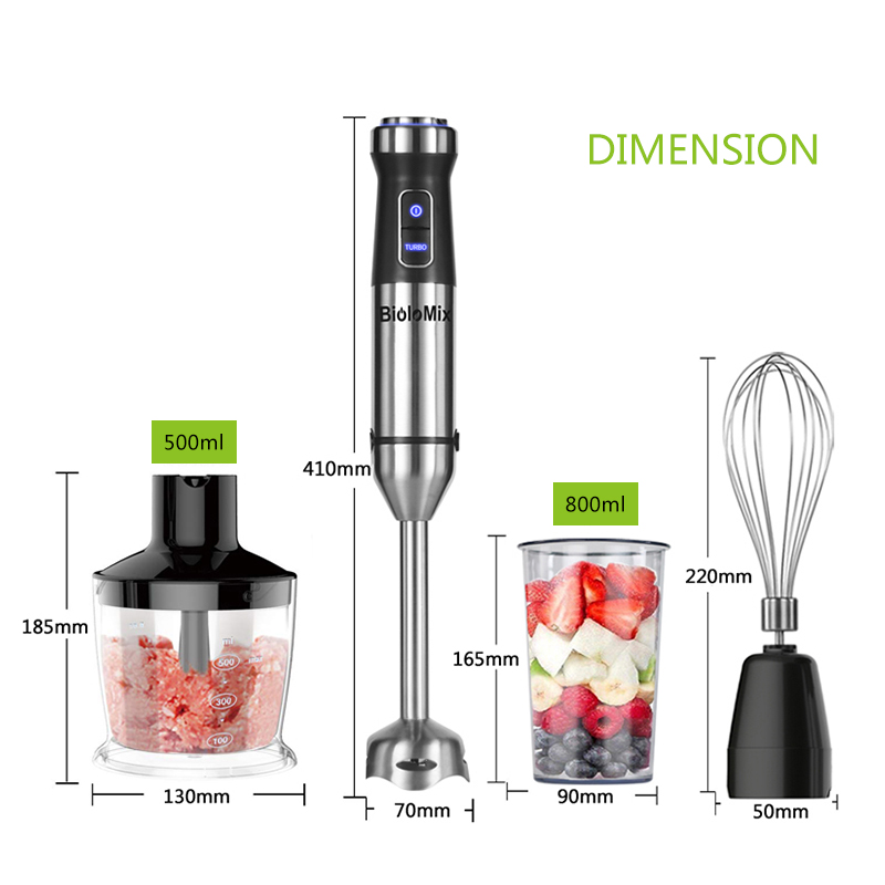 4-in-1 Stainless Steel 1100W Immersion Hand Stick Blender Mixer Vegetable Meat Grinder 500ml Chopper Whisk 800ml Smoothie Cup 6