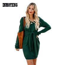 INMOTENG Green/Apricot/Black Don't Let Me Go Tie Sweater Dress Women Autumn Winter Long Sleeve Casual Working Sweater Dresses(China)