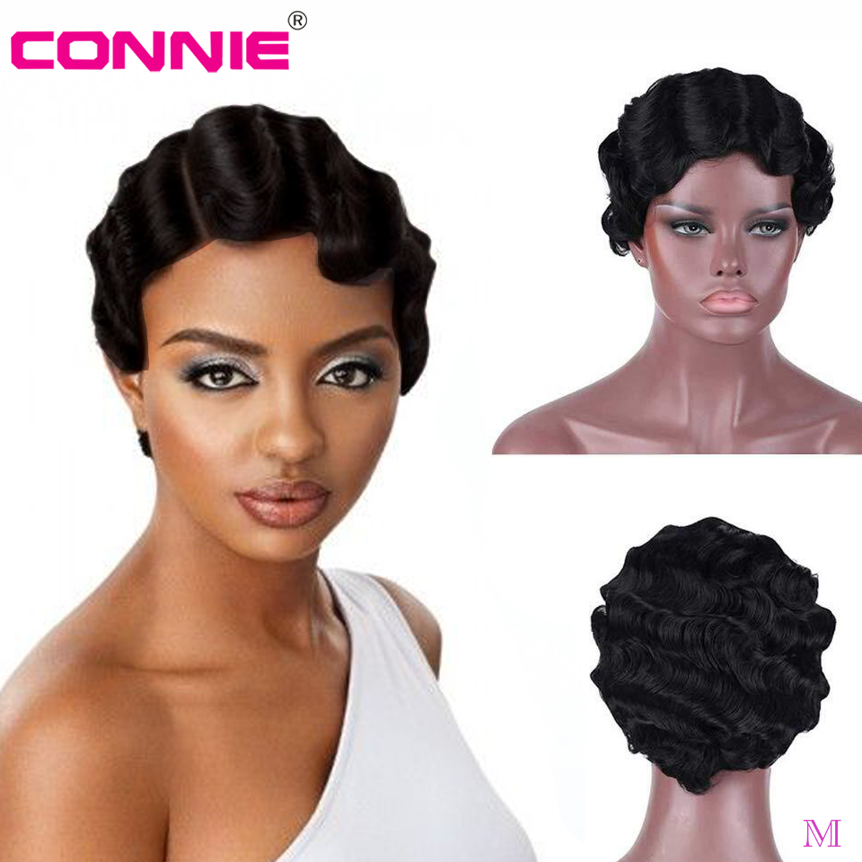 6 Inch Full Machine Human Hair Finger Wave Short  Pixie Cut Wig For Black Women Middle Ratio 150% Density Brazilian Remy Hair