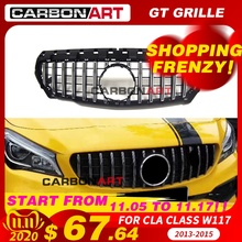 11.11 CLA W117 GT style Grille for MB Front Grill for CLA Class W117 C117 CLA200 220 CLA260 300 2013 2015 FOR benz front grille