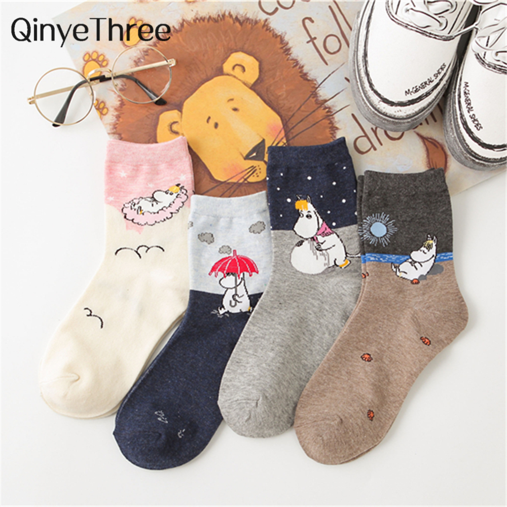 New Cute Cartoon Lively Lovely Hippo <font><b>Socks</b></font> Funny Literary Art Illustration hippopotamus <font><b>Animal</b></font> <font><b>Socks</b></font> <font><b>Unisex</b></font> Christmas Gift image