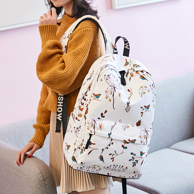 Casual Waterproof Women Backpack Flower Printing Girls College Laptop Bookbags Lady Travel Bagpack image