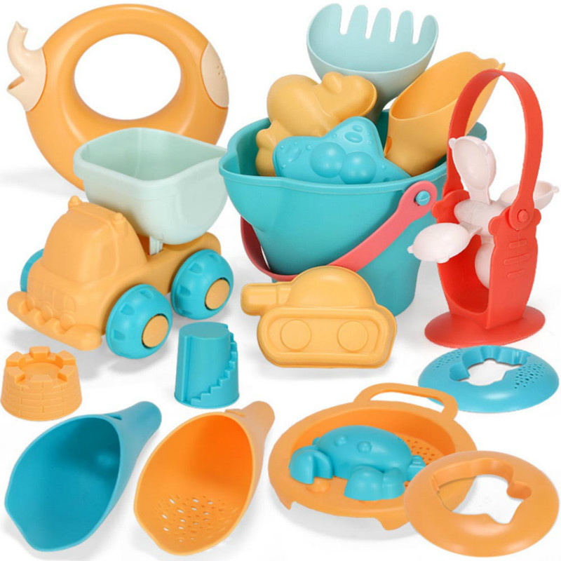 5-17Pcs Plastic Beach Toys For Children Sandbox Set Kit Sand Bucket Rake Hourglass Water Table Play And Shovel Mold For Summer