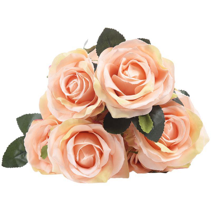 1 bouquet 10 Head Artificial Silk cloth Rose Wedding Bridal Flower Bouquet Home Party Decor Light peach thumbnail