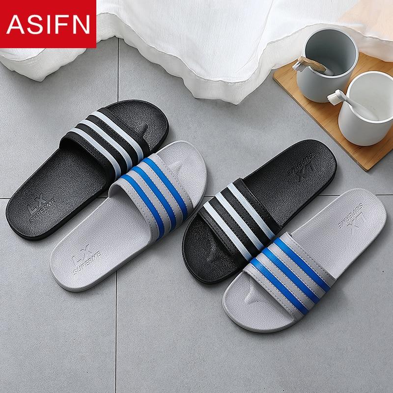 ASIFN Summer Casual Men's Slippers Beach Slides Horizontal Stripes Bathroom Non-slip Male Flip Flops Shoes Zapatos De Hombre