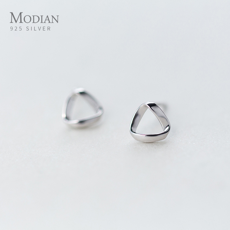 Modian Trendy 100% 925 Sterling Silver Geometric Small Stud Earrings For Women Cute Romantic Sterling Silver Jewelry Gift