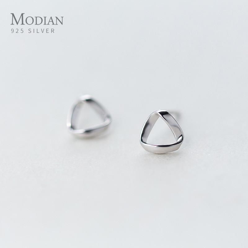Modian Trendy 100% 925 Sterling Silver Geometric Small Stud Earrings For Women Cute Romantic Sterling Silver Jewelry Gift