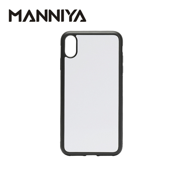 MANNIYA 2D Sublimation Blank rubber phone Case for iphone XS Max with Aluminum Inserts and glue 10pcs/lot