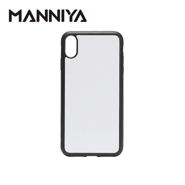 MANNIYA 2D סובלימציה ריק גומי טלפון מקרה עבור iphone XS מקסימום עם אלומיניום מוסיף ודבק 10 יח\חבילה