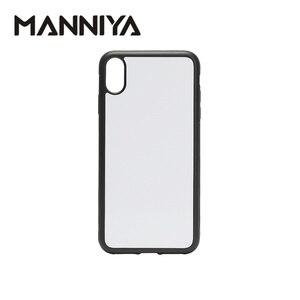 Image 1 - Manniya 2d sublimação em branco borracha caixa do telefone para iphone xs max com inserções de alumínio e cola 10 pçs/lote