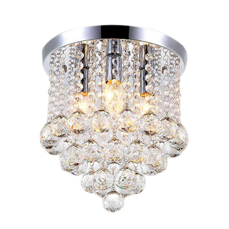ABSS-Round Led Crystal Ceiling Light for Living Room Indoor Lamp Home Decoration