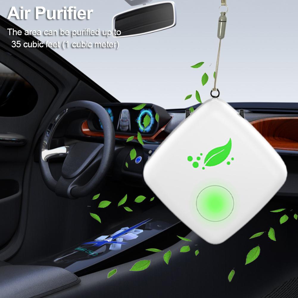 Collar purificador de aire portátil para coche Mini purificador de aire portátil USB limpiador de aire generador de iones negativos de bajo ruido