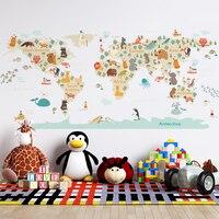 Animales de dibujos animados de adhesivos para la pared con mapa para niños habitación Pared de guardería de vinilo de PVC de la pared calcomanías murales decoración del hogar