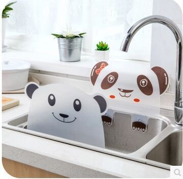 Cute Panda Shape Water Splash Guard Baffle Board Sucker Wash Basin Sink Board Kitchen Gadgets Impermeable Water Baffle Plate