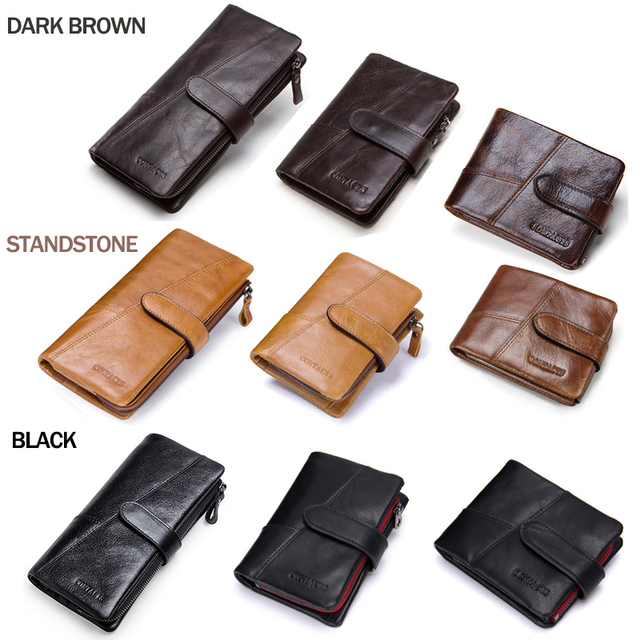 CONTACT'S Genuine Crazy Horse Cowhide Leather Men Wallets Fashion Purse With Card Holder Vintage Long Wallet Clutch Wrist Bag 3