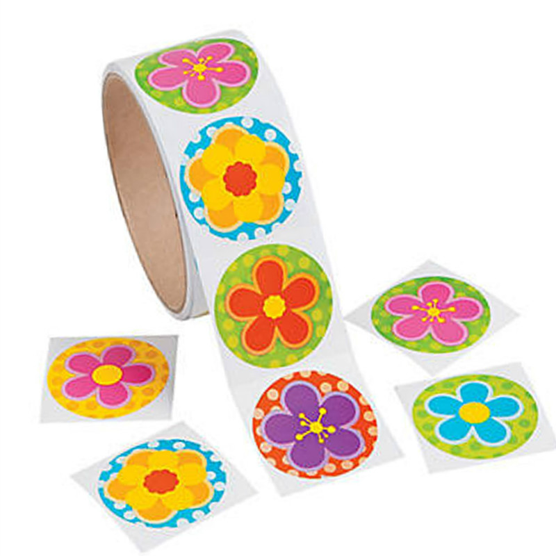 One Roll Creative Adhesive Tape 100pcs Beautiful Flower Sticker For Girls Birthday Gift Colorful Stationery Sticker