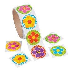 Um rolo criativo fita adesiva 100 pçs bonito flor adesivo para meninas presente de aniversário colorido papelaria adesivo