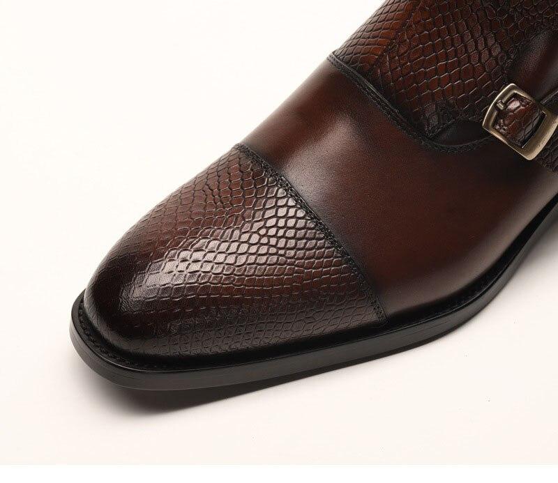 Botas de vestir de cuero genuino para hombres, botas de vestir para hombres, zapatos de hombre británico, con hebilla, botas de trabajo para hombres - 4