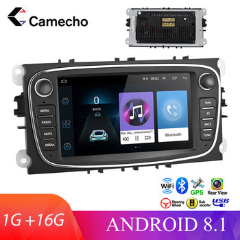 Camecho Android 8.1 2 Din 7'' Car Radio GPS Navigation WIFI MP5 Bluetooth FM for Ford Focus Mondeo C-MAX S-MAX Galaxy II Kuga image