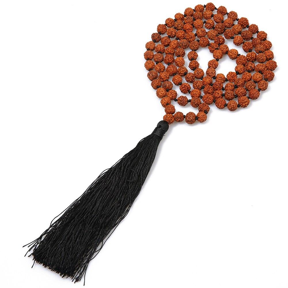 Showboho 108 Mala Hand-Knotted Rudraksha Beaded Tassel Necklace Meditation Yoga Party Friendship Gift Amulet Pendant Necklace