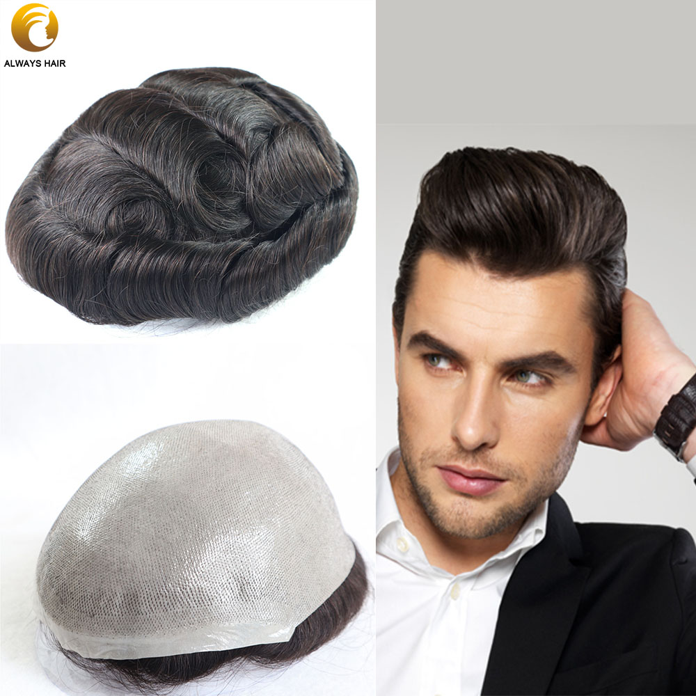 6 Inch Super Thin Skin Toupee 100% Hair Density Indian Human Hair Wigs Man Free Style Ultra Thin Skin Male Toupee Wig